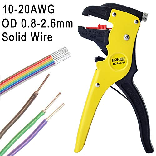 DOWELL Wire Stripper with Cutter Wire Stripping Tool 10-24AWG for Flat Ribbon Cable Wire Electrical Automotive Repair