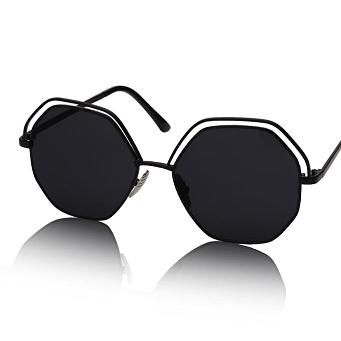 ZWX Cristales perforados/Gafas de sol de color retro caja-A ...