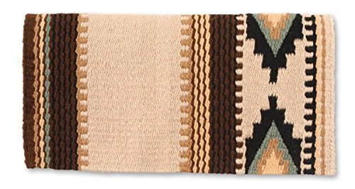 Mayatex Cowtown Saddle Blanket, San/Black/Chestnut/Sheep/Indian Tan/Sage, 36 x 34-Inch (Wool Blanket Antique)