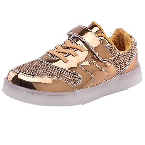 Kids 11 Colors LED Light Up Shoes USB Rechargble Flashing Sneakers for Christmas(Gold 31 EU/13 M US Little Kid)