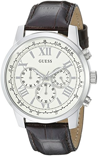 GUESS Men's U0380G2 Dressy Stainless Steel Multi-Function Watch with Chronograph Dial and Genuine Leather Strap Buckle