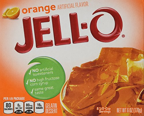 JELL-O Gelatin Dessert, Orange, 6-Ounce Boxes (Pack of (Orange Gelatin)