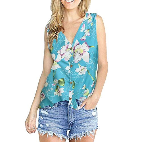 4Clovers Women's Floral Sleeveless Tank Tops Casual V Neck Button up T Shirts Light Blue