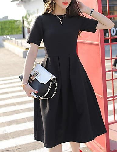 DRESS ZLL Mujer Pequeño Negro Vestido Noche Vintage,Un Color Escote Redondo hasta la Rodilla Manga Corta Algodón Verano Tiro Medio Rígido Medio: Amazon.es: Deportes y aire libre