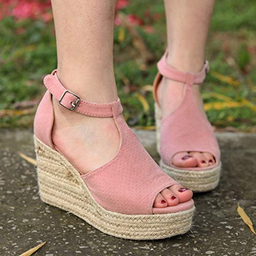 CCOOfhhc Women's Wedge Sandals Casual Sandals Shoes Summer Adjustable Ankle Buckle Open Toe Wedges Heels Pink by CCOOfhhc (Image #6)