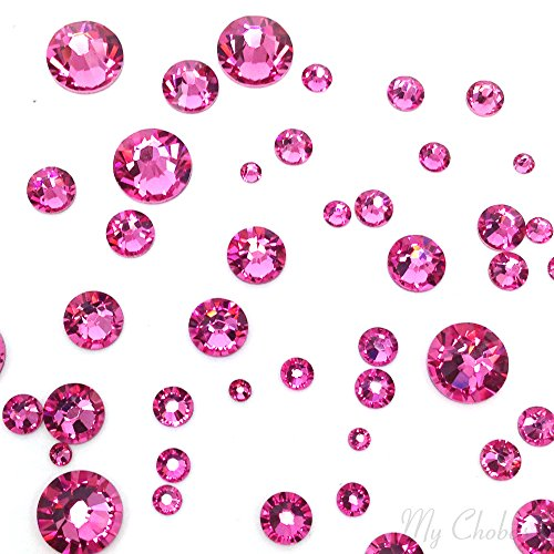 (ROSE (209) pink 144 pcs Swarovski 2058/2088 Crystal Flatbacks pink rhinestones nail art mixed with Sizes ss5, ss7, ss9, ss12, ss16, ss20, ss30)