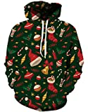 Gludear Unisex Realistic 3d Digital Print Ugly Christmas Pullover Hoodie Hooded Sweatshirt,Christmas Gift,XXL/3XL