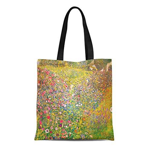 Landscape Klimt Paintings Gustav - Semtomn Cotton Line Canvas Tote Bag Landscapes Gustav Klimt Pink Flower Paintings Famous Reusable Handbag Shoulder Grocery Shopping Bags