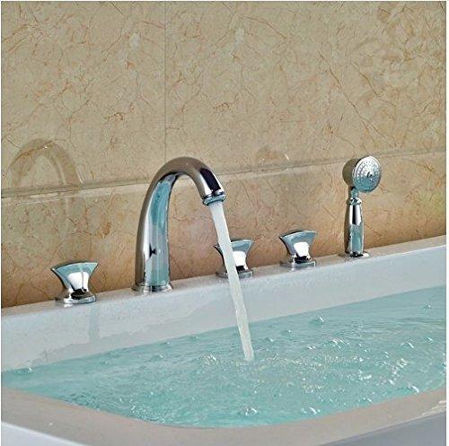 Gowe Bathroom 5pcs Shower Set Brass Chrome Polish Tub Tap Three Handles With Hand Shower Mixer Taps 0