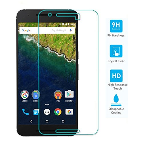 TNP Google Nexus 6P Screen Protector Tempered Glass Ultra Clear 0.33mm 9H Hardness 2.5D Premium Anti Scratch Fingerprint Hard Screen Film Cover Shield Guard for 2015 Huawei Google Nexus 6P 5.7