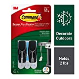 Command Outdoor 2 lb Capacity Stainless Steel Toggle Hooks, Decorate Damage-Free, Water-Resistant Adhesive (17065S-AWES)