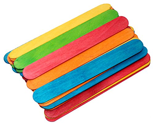 Colored Wood Craft Sticks Colorful Wooden Sticks 6 Inch Length Pack of 100 Ct (Colored Sticks)