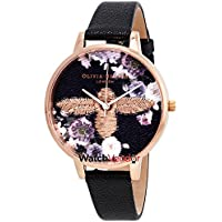 Olivia Burton 3D Bee Embroidered Black Dial Women's Watch