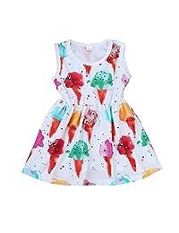 Infant Baby Girl Kids Sleeveless Dress Ice Cream Casual Sundress by XILALU