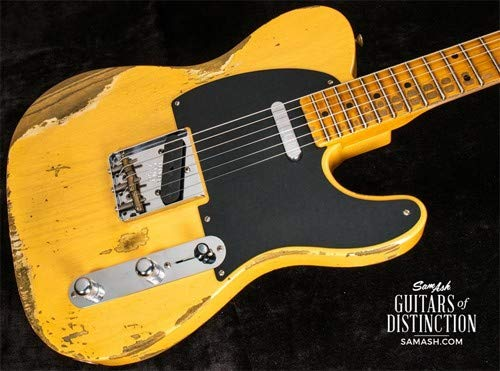 Fender Custom Shop 1952 Telecaster Heavy Relic Electric Guitar Aged Nocaster Blonde ()