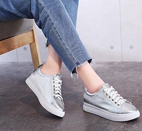 calzado aumentaron Sra de casual mujeres calzado deportivo de señoras Silver las zapatos sencillos las n1Iqqd