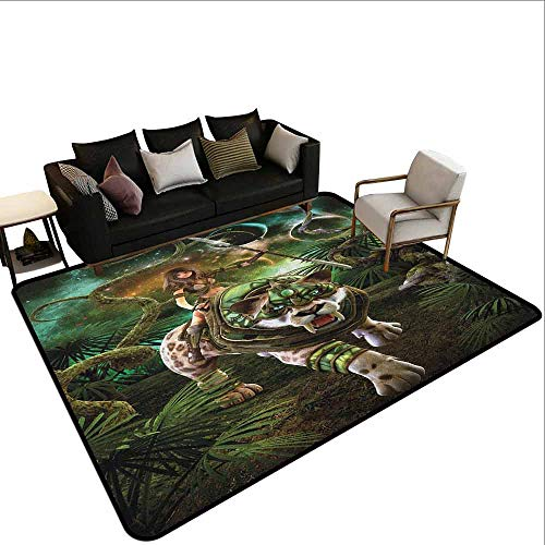 (Square Carpet Fantasy World,Graphics of Fantasy Scene with Girl and Saber-Tooth Tiger Magical Plants Galaxy, Green )