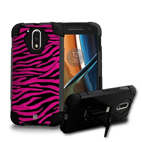 Price comparison product image Moto G4 / Moto G (4th. Gen) - [Pink Zebra] Dual Armor Kickstand Case, Atom LED, Tempered Glass Screen Protector and Cellet 18W [Qualcomm Quick Charge 2.0] Car Charger with Micro USB Cable [4 ft.]