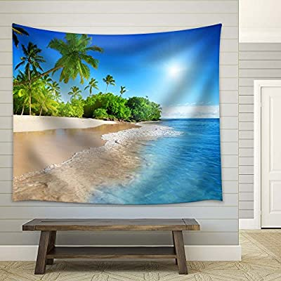 Fascinating Visual, Palm Trees and Clear Blue Tropical Sea, Professional Creation