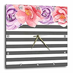 3dRose Anne Marie Baugh - Floral - Gray and White Bold Stripes Watercolor Purple and Pink Floral - 15x15 Wall Clock (dpp_263544_3)
