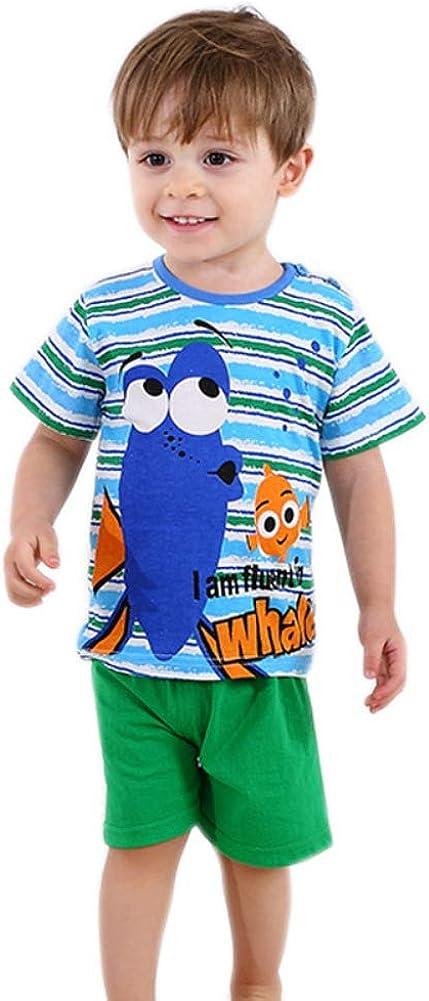 Shorts V/êtements Pyjama//V/êtements de Nuit//V/êtements de Loisirs 6 Mois-5 Ans Miyanuby Pyjama Bebe Garcon 2 Pcs Ensembles de Pyjama Ete Coton Manches Courtes Tops