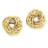 14k Yellow Gold Polished Love Knot Post Earrings T743