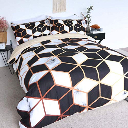 Cube Set Comforter (BlessLiving 100% Cotton Marble Geometric Bedding Black White Cube Stylish Pattern Duvet Cover 3 Pieces Modern Gold Line Bedspreads (Queen))