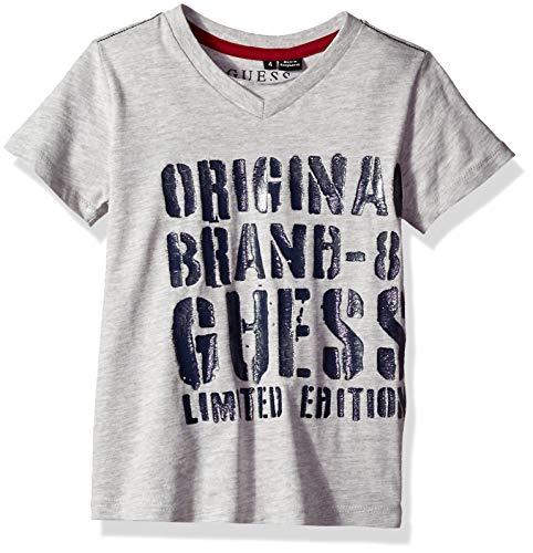 GUESS Boys' Little Short Sleeve Limited Edition Logo T-Shirt, Light Heather Grey Medium, 4 ()