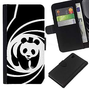 """Be-Star la tarjeta de CršŠdito Slots PU Funda de cuero Monedero caso cubierta de piel Para Sony Xperia Z1 L39 ( Panda Pelšªcula Sombrero espiral cartel lindo"""" )"""
