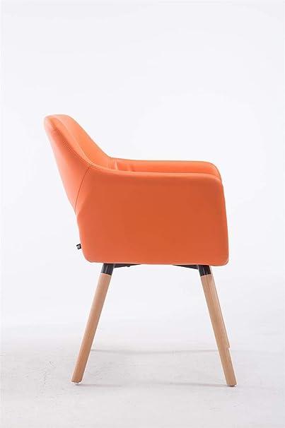 CLP Esszimmerstuhl Auckland mit hochwertiger Polsterung und Kunstlederbezug I Warteraumstuhl mit Holzgestell und Armlehne, Farbe:orange, Gestell