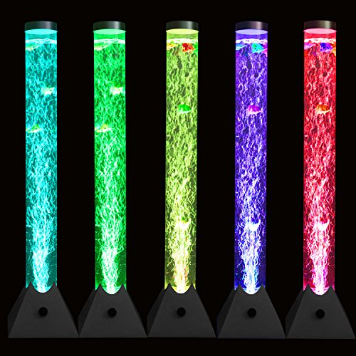 (Large LED Bubble Tube Floor lamp with Changing Colors Light Colorful Lamp for Living Room & Bedroom & Office with Plastic Fish (100cm Length 10cm Diametert))