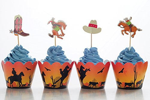 BeBeFun Adjustable Cupcake Wrappers and Decoration Toppers Vintage Cowboys Theme for Birthday Party Supplies and Special Events Supplies 24pcs Wrappers and 24pcs Toppers in Pack.