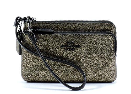 Coach-Metallic-Leather-Double-Zip-Wristlet-52429Brass