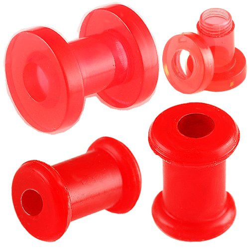 ear elargisseur lobe flesh plug tunnel acrylique écarteur 5mm bijouterie piercing rouge 2 Paires FFPB