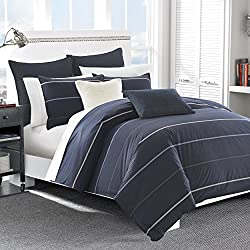 Nautica Southport Cotton Comforter Set, King, Blue/White