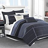 Nautica Southport Cotton Comforter Set, King, Blue/White