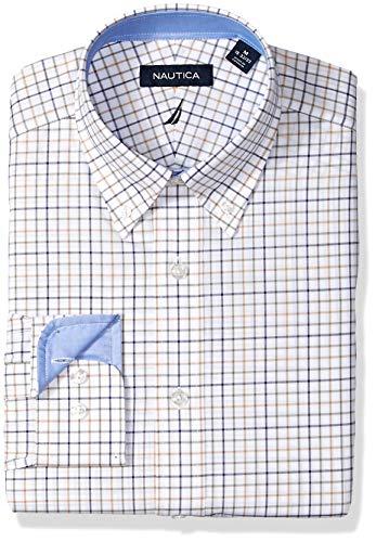 Nautica Men's Classic Fit Button Down Collar Dress Shirt, Beige/Multi Tattersall, 16 34/35