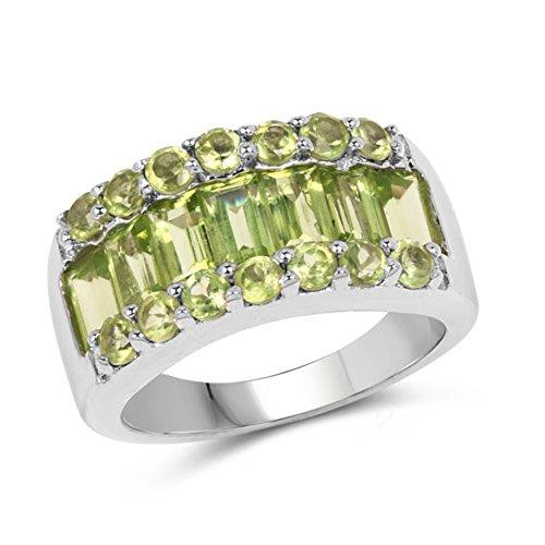 Baguette Peridot Ring - Genuine Baguette Peridot Ring in Sterling Silver - Size 8.00
