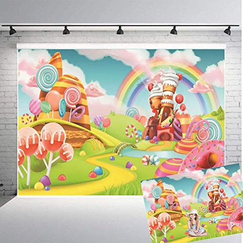 Qian Lollipop Backdrops Cartoon Candy Photo Rainbow Studio Props Booth Baby Birthday Party Photography Background Vinyl 9x6FT ()