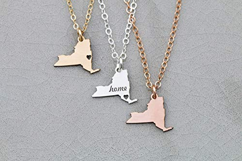 New York Necklace State Jewelry - IBD - Personalize Name Coordinates - Pendant Size Options - 935 Sterling Silver 14K Rose Gold Filled Charm - Fast 1 Day Production