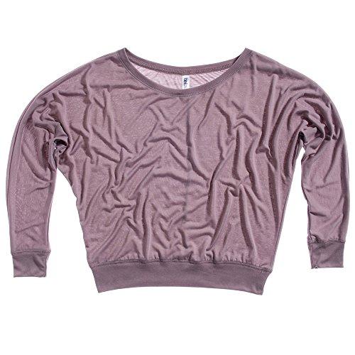 Bella Canvas Ladies Flowy Off The Shoulder Long Sleeve T-Shirt Pebble Brown