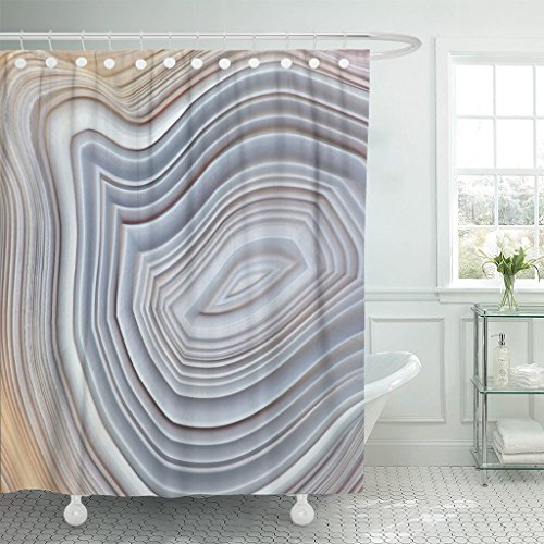 TOMPOP Shower Curtain Amazing Banded Agate Crystal Cross Section As Natural Light Waterproof Polyester Fabric 60 x 72 Inches Set with Hooks