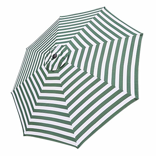 10FT Umbrella Replacement Canopy 8 Rib Outdoor Patio Top Cover Only Opt (10FT GREEN AD WHITE STRIPES)
