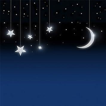 Con purpurina estrellas media luna azul oscuro cielo nocturno fotografía vinilo fondos de tela Bebé recién