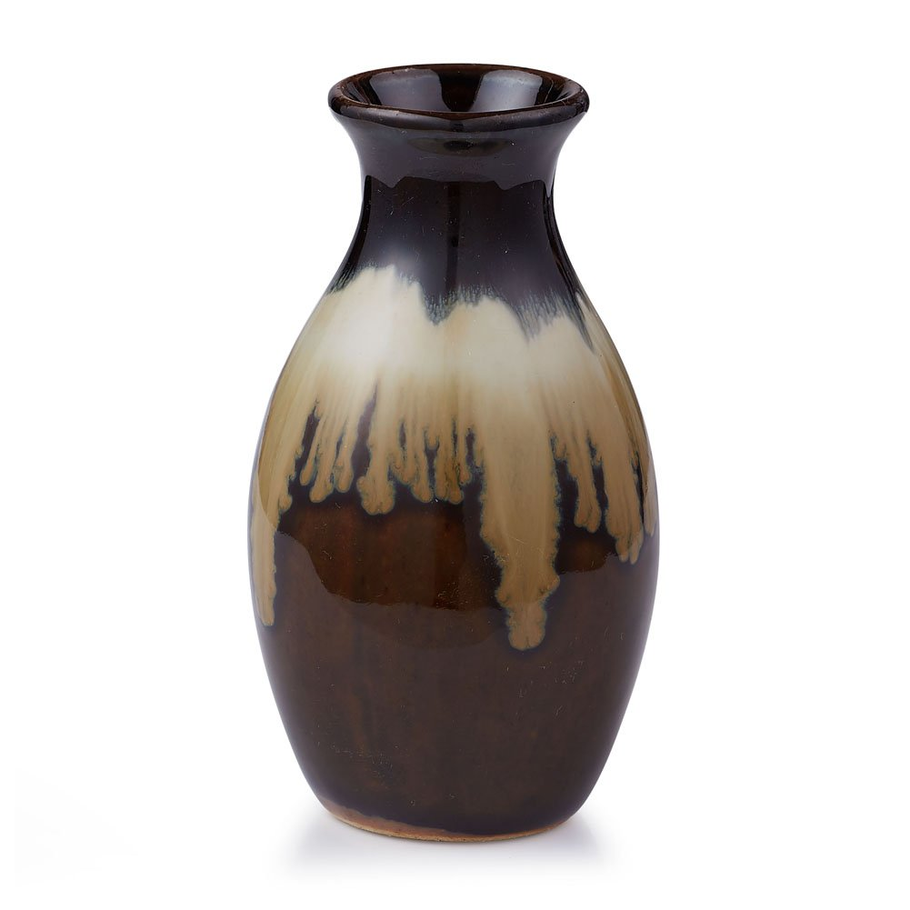 FUYUAN 4.9''High Unique Ceramic Flower Vase, Small Bud Vase, Decorative Floral Vase for Home Decor, Table Top Centerpieces, Arranging Bouquets, with Gradient Color