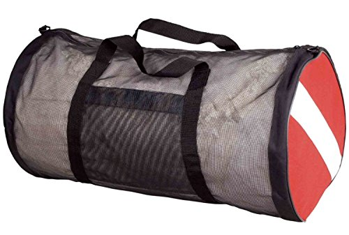 Scuba Max New ScubaMax Dive Flag Mesh Duffel Bag,Black / Red,30