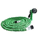 iSincere Expandable Garden Hose, 50FT Lightweight Strongest Expanding Garden Hose Pipe with Triple Layer Latex Core and 7 in 1 Spray Gun for All Your Watering Needs (Green)