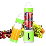 USB Electric Portable Juicer Cup with Updated 6 Blades in 3D, Rechargable 480ml High Capacity Fruit,Ice, Vegetables,Travel Mixing Machine (Green)
