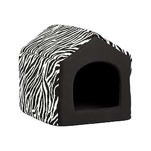 "Best Friends by Sheri 2-in-1 Pet House-Sofa in Zoo, Zebra Black, Medium, 17""x15""x15"""