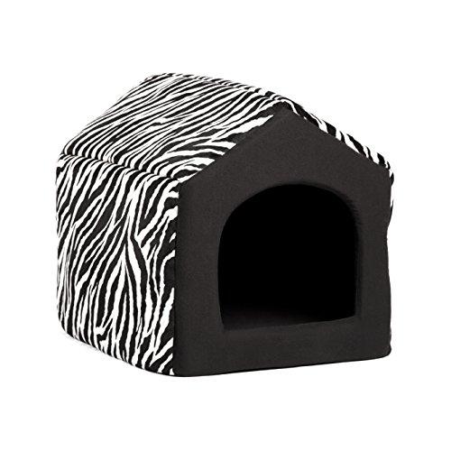 Pet Furniture 2-in-1 Dog House Sofa, Medium , Black Zebra Pr
